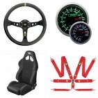 Accesorios para el habitáculo, volantes, piñas, asientos, arneses, instrumentación, frenos de mano y otros accesorios Racing